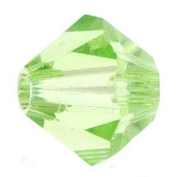 Austrian Crystal Beads, 5301 3mm, Bicone, Peridot, Size: about 3mm long, 3mm wide, Hole: 0.8mm(X-5301-3mm214)