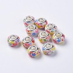 Perles européennes en alliage, avec doubles cœurs en laiton argenté, rondelle, colorées, 14x8.5mm, Trou: 5mm(RPDL-K001-B21)