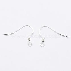 925 стерлингового серебра серьги крюков, вырезанные 925, серебряные, 15x18x1 мм, отверстия: 1.5 мм; штифты: 0.5 мм(STER-K167-049A-S)