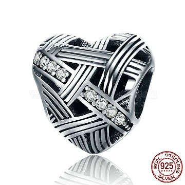 925 Sterling Silver European Beads, with Cubic Zirconia, Large Hole Beads, Heart, Clear, Antique Silver, 11x11x8mm, Hole: 4.2~4.5mm(STER-FF0009-08AS-14)