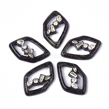 Cellulose Acetate(Resin) Pendants, with Micro Pave Cubic Zirconia, Polygon, Coconut Brown, 35x22x6.5mm, Hole: 1.4mm(X-KY-S163-100A)