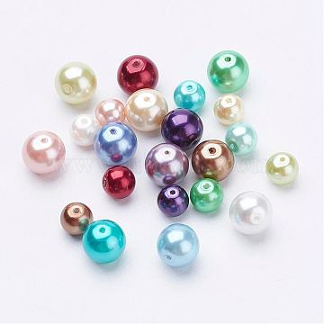 Environmental Dyed Glass Pearl Round Bead Strands, Cotton Cord Threaded, Mixed Color, Mixed Color, 6~8mm, Hole: 0.7mm(HY-X0006-6-8mm)