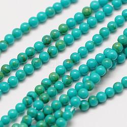"""Importées turquoise naturelle chapelets de perles, rond, 2mm, trou: 0.8mm; environ 184 pcs/chapelet, 16""""(X-G-A130-2mm-L05)"""