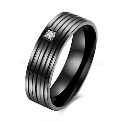 День подарки титана стали кубического циркония кольца пара святого Валентина для мужчин, металлический черный , Размер 9, 18.9 мм(RJEW-BB16446-9)
