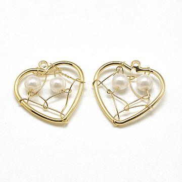 Brass Pendants, with ABS Plastic Imitation Pearl, Heart, Real 18K Gold Plated, 17x17x4mm, Hole: 1mm(X-KK-T032-036G)