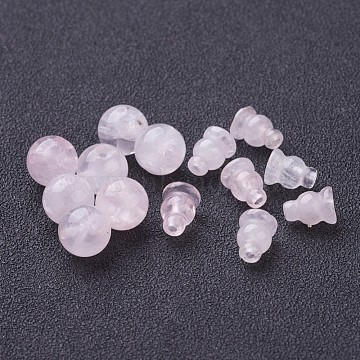 Buddha Style Rose Quartz Beads Sets, 3-Holes Round and Gourd, For Buddha Jewelry Making, Pink, about 10mm in diameter, hole: 1.5mm; Gourd Beads: 8x6mm(X-G-D382-10mm-09)