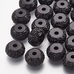 Бусины со стразами из смолы, рондель, чёрные, 6x3.5~4 мм, отверстие : 1.8 мм(RESI-T020-01A-01)