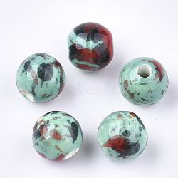 Handmade Porcelain Beads, Fancy Antique Glazed Porcelain, Round, Colorful, 10.5x9.5mm, Hole: 2.5mm(X-PORC-Q262-03R)