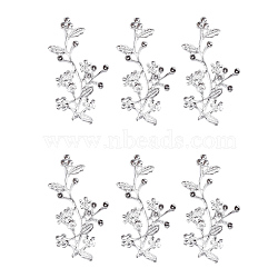 Connecteur en alliage serti de strass, branche avec des fleurs, argenterie, 44.5x23x8mm, trou: 2.2 mm; apte à 2 mm strass(X-PALLOY-G253-15S)