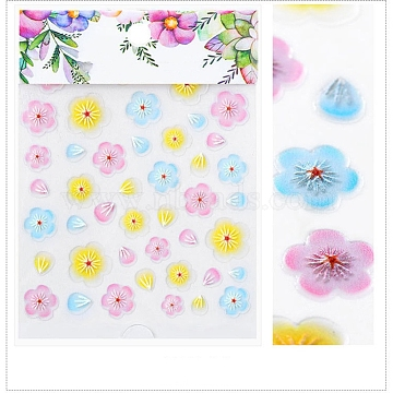 5D Nail Art Water Transfer Stickers Decals, Flower, Colorful, 8.2x6.4cm(MRMJ-S008-084D)