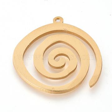 Eco-Friendly Aluminium Pendants, Laser Cut Pendants, Vortex, Gold, 40x39x2~2.5mm, Hole: 2mm(X-ALUM-Q001-45A)