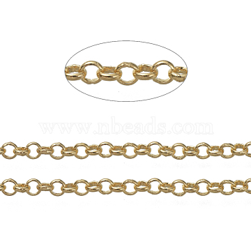Brass Rolo Chains, Belcher Chains, Soldered, Long-Lasting Plated, with Spool, Cadmium Free & Nickel Free & Lead Free, Golden, 2.4x0.8mm, about 16.4 Feet(5m)/roll(X-CHC-S008-002E-G)