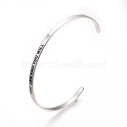 304 Stainless Steel Cuff Bangles, Stainless Steel Color, 2-1/2 inches(6.4cm)~2-3/4 inches(7cm)(X-BJEW-Q685-08)