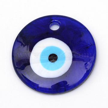Handmade Evil Eye Lampwork Pendants, Dark Blue, 40x7.5mm, Hole: 4.5mm(X-LAMP-R134-40mm-01)