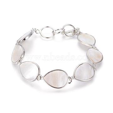 White Shell Beaded Bracelets, with Brass Findings and Toggle Clasps, Teardrop, Platinum, 8-5/8 inches(22cm), 15.5mm(BJEW-L613-15A)