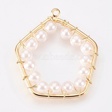 Brass Pendants, with Acrylic Pearl Beads, Nickel Free, Pentagon , Real 18K Gold Plated, 30.5x26x4mm, Hole: 1.6mm(KK-K230-27G-NF)