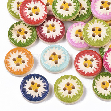 4-Hole Printed Natural Wood Buttons, Flat Round, Mixed Color, 13x4mm, Hole: 1.6mm(X-WOOD-S055-11)