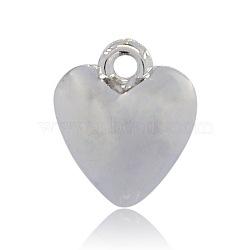 Пластиковые сердечные кулоны ccb, платина, 26x23x12 мм, отверстие : 3 мм(CCB-J027-64P)