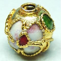 Handmade Cloisonne Beads, Filigree Round, Gold, 8mm, Hole: 1mm(X-CLB8mmC06)