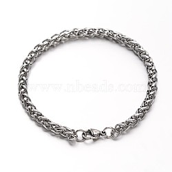 304 Stainless Steel Wheat Chains Bracelets, with Lobster Clasps, Stainless Steel Color, 8-1/4inches(210mm); 5mm(BJEW-O091-04P)