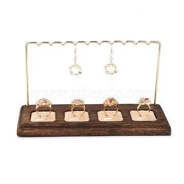 Iron Finger Ring Earring Display Holder, Jewelry Display Rack, with Burlap & Wood Base, Golden, 21.9x9x11.8cm(EDIS-K003-03G)