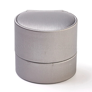PU Leather Ring Boxes, with Velvet and Cardboard, Round, LightGrey, 5.25x5.85x5.55cm(LBOX-L002-A02)