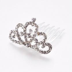 peignes en strass, avec socle en fer, diadèmes de mariée pour mariage, couronne, plaqué argent, 42.5x26 mm; couronne: 27.5x43.5x6 mm(OHAR-WH0016-02E-S)