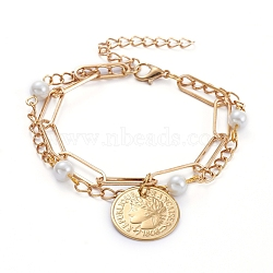 Multi-strand Bracelets, with 304 Stainless Steel Coin Pendants, Glass Pearl Beads, Iron Paperclip Chains and Curb Chains, Word Republique Francaise 1808, Golden, 7-1/8 inches(18cm)(X-BJEW-JB05125)