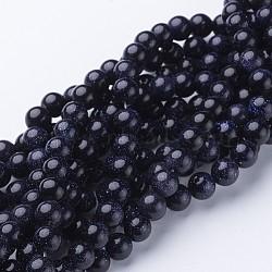 synthétiques goldstone bleu brins de perles, arrondir, 8 mm(X-GSR053)
