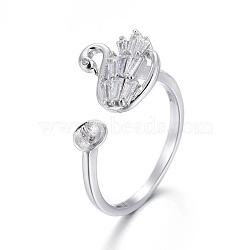 925 элементы кольца из манжеты из стерлингового серебра, за половину пробурено бисера, с кубического циркония, вырезанные 925, лебедь, платина, Размер 6, 16.5 мм; Лоток: 3.5 мм; контактный: 0.8 мм(STER-F048-06P)