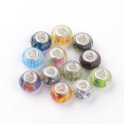 Perles européennes en alliage, Perles avec un grand trou   , avec des noyaux de laiton de ton argent, facette, rondelle, couleur mixte, 14x9mm, Trou: 5mm(RPDL-S010-M)