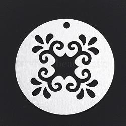 gros pendentifs en aluminium, laser coupé gros pendentifs, plat et circulaire avec fleur, argent, 50x1.5 mm, trou: 3 mm(X-ALUM-T001-55S)