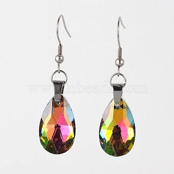 teardrop, Glass Dangle Earrings, with 304 Stainless Steel Earring Hooks, Colorful, 50mm, Pin: 0.6mm(X-EJEW-JE01968)