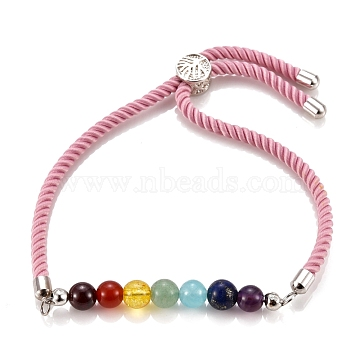 Chakra Jewelry, Adjustable Nylon Cord Slider Bracelets, Bolo Bracelets, with Natural & Synthetic Gemstone Beads and Brass Findings, Platinum, Pink, Inner Diameter: 2-5/8 inches(6.7cm), Slider Bead: 8.5x5.5mm(BJEW-JB05474-03)