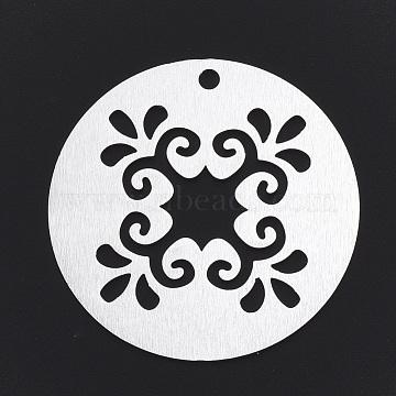 Aluminium Big Pendants, Laser Cut Big Pendants, Flat Round with Flower, Silver Color Plated, 50x1.5mm, Hole: 3mm(X-ALUM-T001-55S)