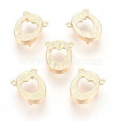 латунный кабошон, овальные с сердцем, реальное золото покрыло, лоток: 11x8 мм; 12.5x10.5x5 мм, отверстия: 1 mm(X-KK-T020-98G)