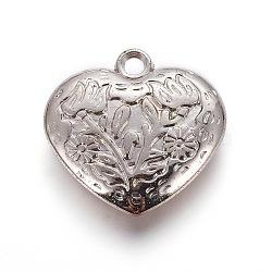 Пластмассовые подвески ccb, сердце с цветочными узорами, платина, 30x30x7 мм, отверстие : 3 мм(CCB-J027-50P)