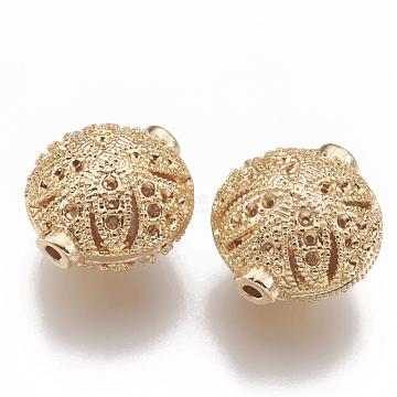 Brass Bead Rhinestone Settings, Hollow, Flat Round, Nickel Free, Real 18K Gold Plated, Fit for 1mm Rhinestone, 14.5x13.5x10mm, Hole: 1mm(KK-S345-029)