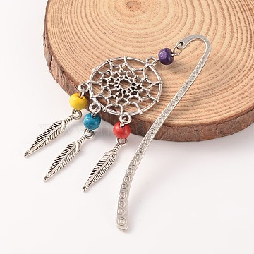 Tibetan Style Alloy Bookmarks, with Wood Beads, Colorful, 85mm(AJEW-JK00106-05)