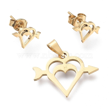 Valentine's Day 304 Stainless Steel Jewelry Sets, Pendants and Stud Earrings, with Ear Nuts, An arrow through a heart, Golden, 17x21.5x1mm, Hole: 5x2.5mm; 7.5x11mm, Pin: 0.7mm(SJEW-K154-30G)