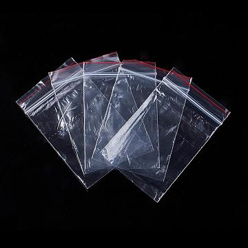 Plastic Zip Lock Bags, Resealable Packaging Bags, Top Seal, Rectangle, Clear, 9x6cm, Unilateral Thickness: 0.03mm(X-OPP06)