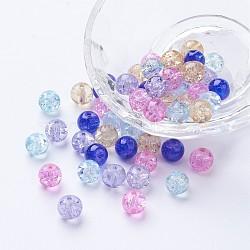 Perles de verre craquelé peintes, jardin de lavande mix, rond, couleur mixte, 8~8.5x7.5~8mm, trou: 1 mm; environ 100 PCs / sachet (DGLA-X0006-8mm-06)