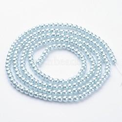 """Chapelets de perles en verre nacré, nacré, rond, bleu clair, 4mm, Trou: 0.8~1mm, Environ 216 pcs/chapelet, 32""""(X-HY-4D-B09)"""