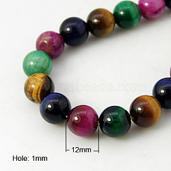 Natural Tiger Eye Beads Strands, Round, Mixed Color, 12mm, hole: 1mm; about 16pcs/strand