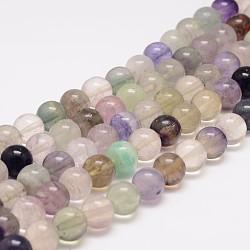 """Chapelets de perles en fluorite naturelle, rond, 8mm, trou: 1mm; environ 48 pcs/chapelet, 15.5""""(G-K153-B36-8mm)"""
