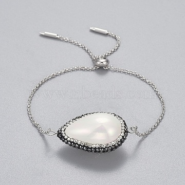 Brass Slider Bracelets, Bolo Bracelets, with Polymer Clay Rhinestones Shell Beads, teardrop, Platinum, 9-1/2 inches(24.2cm); 1.3~1.6mm(BJEW-JB04286-01)