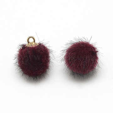 Faux Mink Fur Covered Charms, with Golden Tone Brass Findings, Round, DarkRed, 17x14~15mm, Hole: 2mm(X-WOVE-S084-37I)