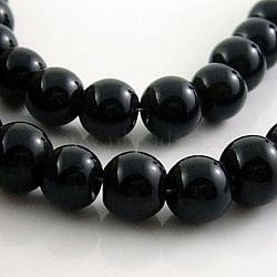 """Chapelets de perles en verre, rond, noir, environ 6 mm de diamètre, Trou: 1mm, Environ 50 pcs/chapelet, 13""""(X-GR6mm27Y)"""