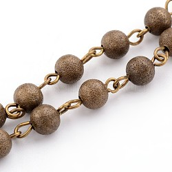 Brass Textured Beads Handmade Chains, Unwelded, Antique Bronze, 39.3 inches