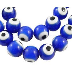 Perles vernissées manuelles, mauvais œil, rond, bleu, environ 10 mm de diamètre, Trou: 1.5mm, Environ 40 pcs/chapelet(X-DF019Y-3)